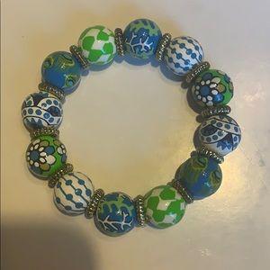 Angela Moore hand painted beaded bracelet.